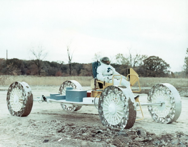 ONE CONCEPT OF THE LUNAR ROVING VEHICLE (LRV) BEING TESTED, 1960'S.