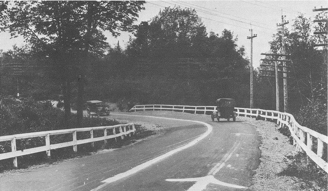 1917 Dead Man's Curve along the Marquette–Negaunee Road with its hand-painted centerline, the first in the nation